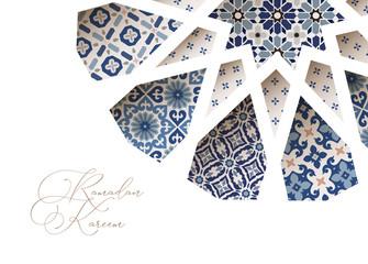 Close-up of blue ornamental Morroccan tiles through white arab star shape pattern. Greeting card, invitation for Muslim holiday Ramadan Kareem. Vector illustration bacground, web banner, modern design