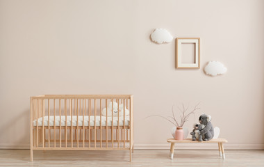 Wooden baby room furniture bed and crib, sun and cloud toys and frame style.
