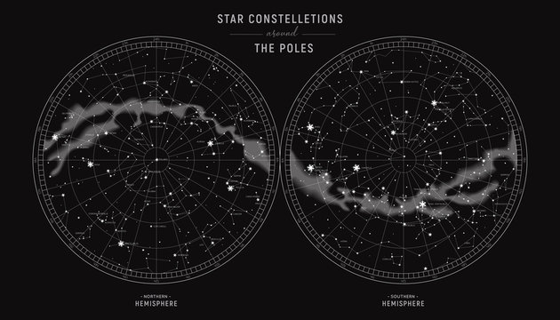 Star constellations around the poles. Nothern and Southern high detailed star map with symbols and signs of zodiac. Astrological celestial map