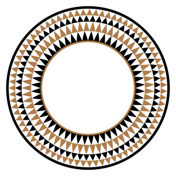 Ethnic african tribal round vector art frame