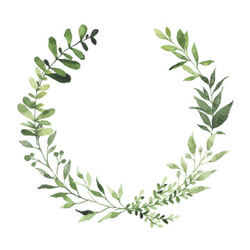 Watercolor round wreath with greenery leaves branch twig plant herb flora isolated on white background. Botanical spring summer leaf decorative illustration for wedding invitation card