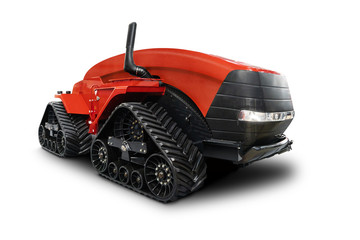 Wall Mural - Autonomous tractor isolated on white. Smart farming