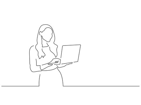 Woman using a laptop line drawing, illustration design. Technology collection.