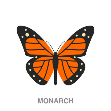 monarch butterfly flat icon on white transparent background. You can be used black ant icon for several purposes.