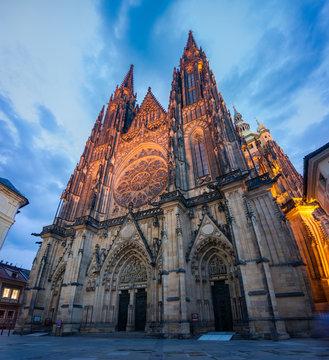 Saint Vitus cathedral illuminated at night. Prague landmark