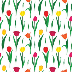 Seamless pattern background with colorful tulip flowers. Vector illustration