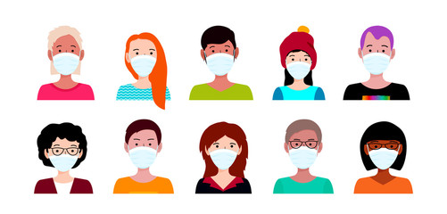 People in medical mask. Wuhan coronavirus outbreak concept. COVID-19 danger and public health risk disease and flu outbreak. Vector illustration