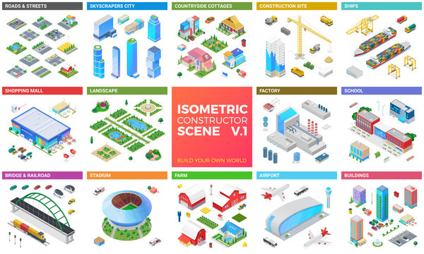 Isometric scene vector design kit: skyscrapers city, buildings, shopping mall, road and street, cottage, bridge, cars, ship boat, airport, stadium, farm, landscape.