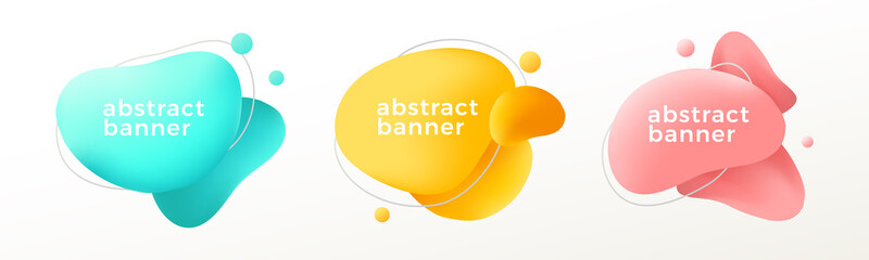 Set of modern abstract graphic elements. Flowing fluid shape banners. Vector illustration. Wall mural