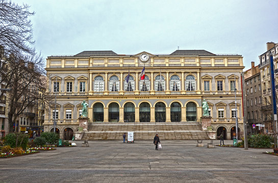 Saint-Etienne, France - January 27th 2020 : Front view of the town hall of the city, with a place in front of the building.