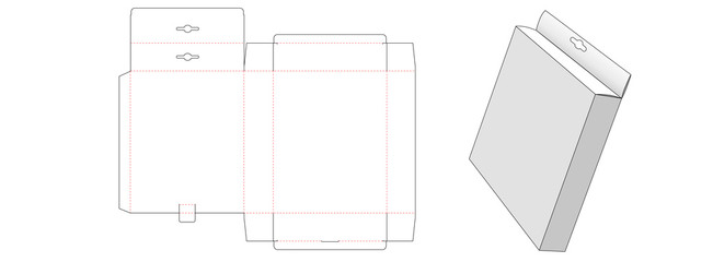 Hang top packaging box die cut template