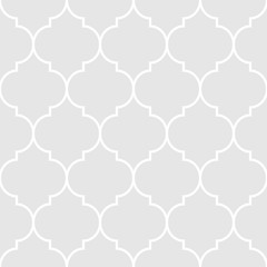 Grey and white seamless geometric islamic pattern. Abstract geometric pattern in arabic style. Simple vector seamless design for background, paper, textile, wallpaper. Traditional ornament