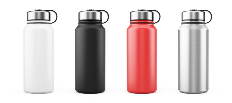 White, Black, Red and Silver Empty Glossy Metal Thermos Water Bottle Isolated on White. 3d rendering