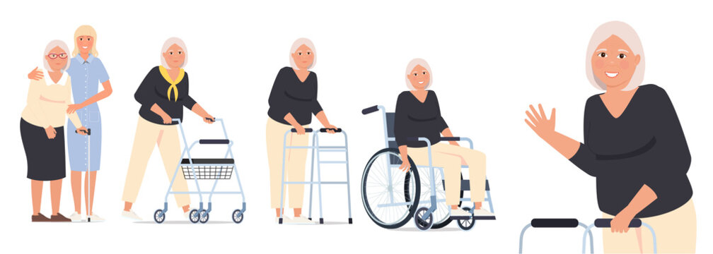 Grandmother in a wheelchair, granny with a paddle walker and an elderly woman with a walking stick and a nurse.