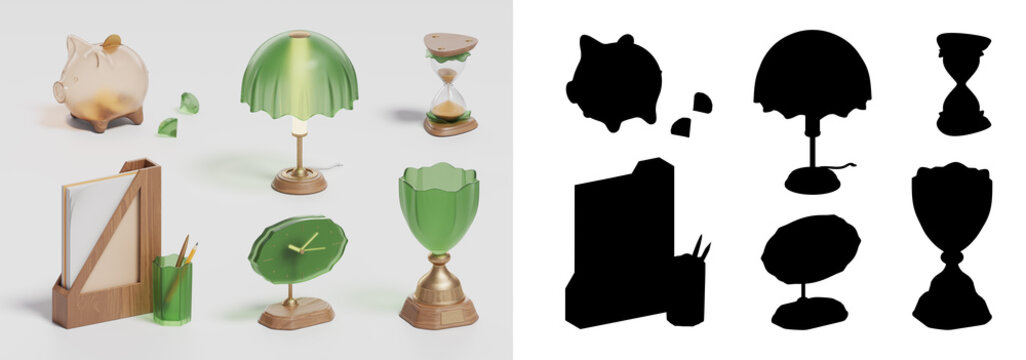 moneybox, win cup and business icon set on white background, 3D illustration