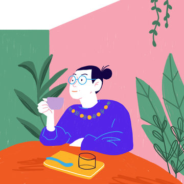 Girl drinking tea in a coffee shop full of plants