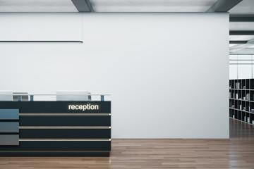 Cozy office corridor with reception table