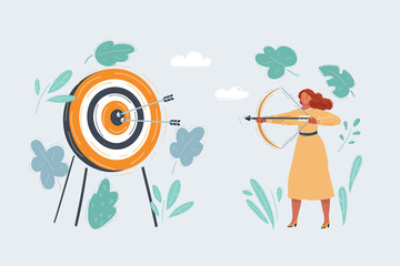 Illustration of woman with bow shouting arrow to target