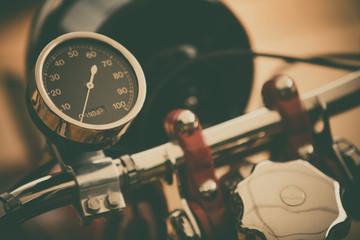 Spoed Fotobehang Fiets Speedometer gauge of a vintage motorcycle