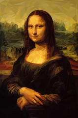 "Mona Lisa ""La Joconde"" - Leonardo da Vinci painting in Low Poly style. Remastered. Conceptual Vector Illustration"