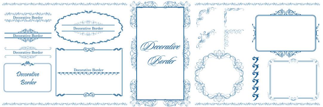 ヨーロッパ調のオーナメント・飾り罫・飾り囲み・背景テンプレート素材セット ビンテージ・レトロ Decorative border