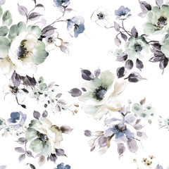 Fototapeta Flowers watercolor illustration.Manual composition.Seamless pattern.Design for cover, fabric, textile, wrapping paper . obraz