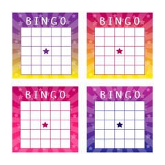 Collection of multicolored tickets for american bingo game. Fun templates with glowing background with stars. Vector illustration