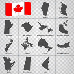 Thirteen Maps  Provinces of Canada - alphabetical order with name. Every single map of  Province are listed and isolated with wordings and titles. Canada. EPS 10.