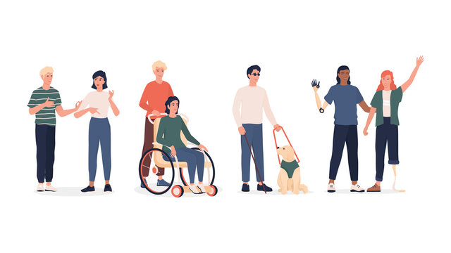 Disabled people set. Men and women with prosthesis and wheelchair,