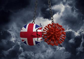 Virus microbe smashing into United Kingdom flag ball. 3D Render Fotomurales