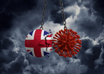 Virus microbe smashing into United Kingdom flag ball. 3D Render