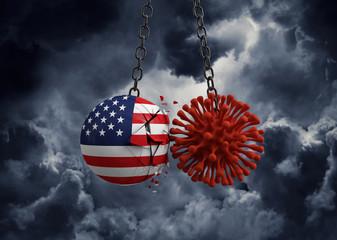 Virus microbe smashing into USA flag ball. 3D Render