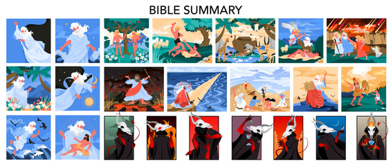 Bible narratives and seven deadly sins set. Adam and Eve, Noeh Fotomurales
