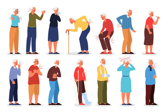 Set of vector illustration of old people with physical injury.