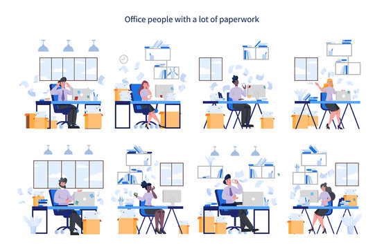 Office people with a lot of paperwork set. Deadline and busy lifestyle