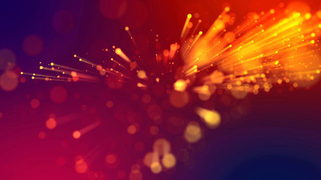 Abstract explosion of multicolored shiny particles like sparkles with light rays like laser show. 3d abstract background with light rays colorful glowing particles, depth of field, bokeh.