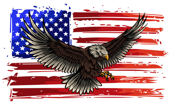 American eagle with USA flags vector illustration