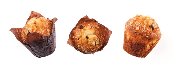 Fototapeta Different angles of chocolate chip muffins Isolated On White Background. obraz