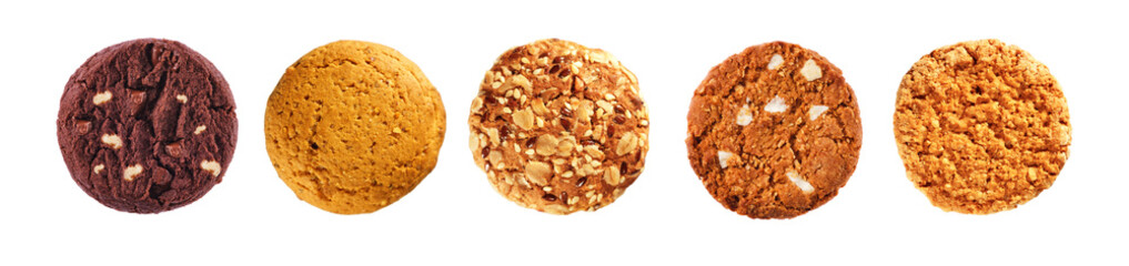 Set of cookies isolated on a white background, top view. Oatmeal, chocolate, with sesame seeds cookies