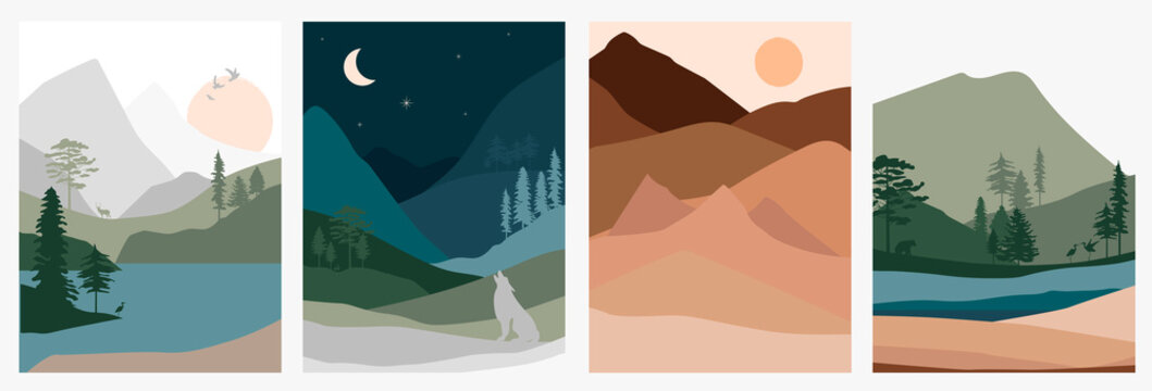 Set of abstract landscape. Forest animals, hills of coniferous wood with mountains range, lake, river, desert silhouette template. Editable vector illustration.