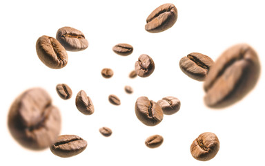 Papiers peints Café en grains Coffee beans levitate on a white background