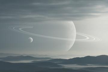 surreal landscape, planets above hills on morning sky, ring planet science fiction landscape
