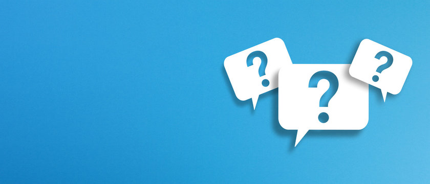 Question marks with speech bubbles on blue background