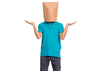 Fototapete - Portrait of teen boy with paper bag over head showing helpless gesture with hands - I do not know. Teenager cover head with bag, isolated on white background. Child making helpless sign or choice.