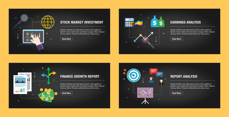 Stock market investment, earnings analysis, finance growth report and report analysis.