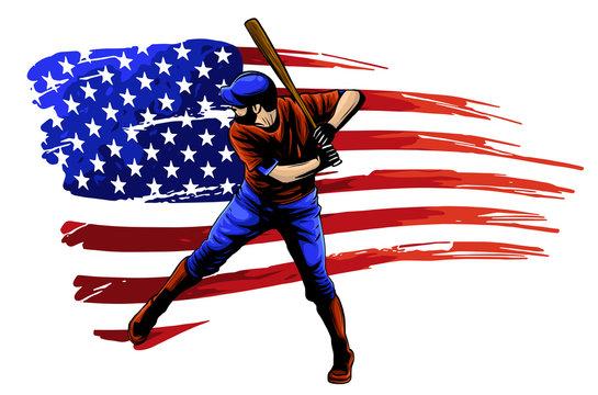 Powerful Baseball Hitter Left handed vector illustration