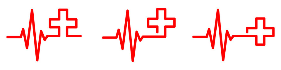 Heartbeat with medical cross. Vector illustration.