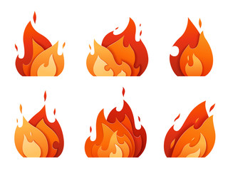 Set of fire logos carved out of paper. Bright flame from different layers. Icons of a burning fire
