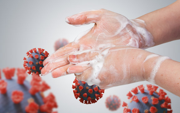 Hygiene concept. Woman is washing her hands. Many viruses around