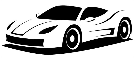 Fotobehang Cartoon cars Vector illustration silhouette of the aerodynamic super sports car drawn using black and white lines which can be used as a logo for a company